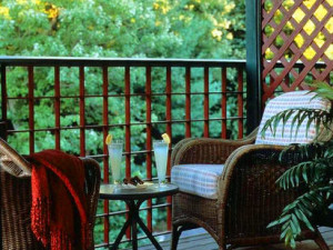 Private porch at Stonehedge Inn and Spa.