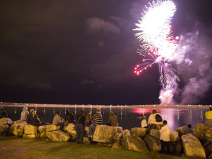 Fireworks over lake at The Knickerbocker On The Lake.