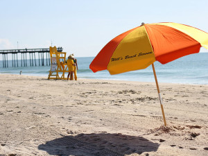 Beach umbrella rental at Plim Plaza Hotel Ocean City.
