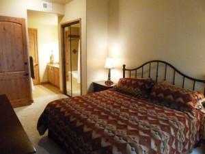 Condo bedroom at Ruidoso River Resort and Inn.