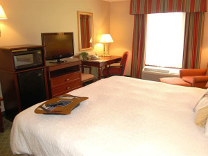 Guest room at Hampton Inn Stow.