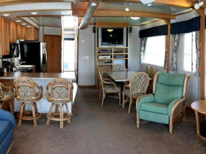 The 70' Titanium houseboat interior at Cottonwood Cove Resort.