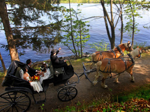 Carriage ride at Fairmont Le Chateau Montebello.