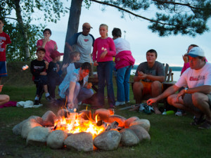 Campfire at Sugar Lake Lodge.