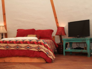 Teepee bed at Reservation on the Guadalupe.