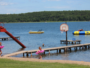 Water activities on the beach at Auger's Pine View Resort.f