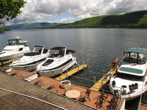 Boats at The Georgian Lakeside Resort.