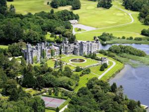 Aerial view of Ashford Castle.