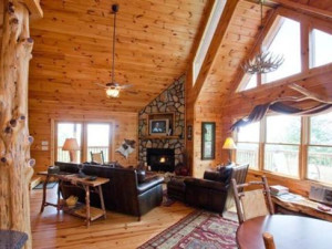 Cabin living room at Blue Sky Cabin Rentals.