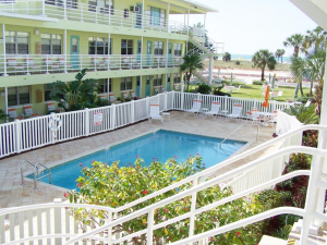 Exterior hotel and pool view at Tropic Terrace Resort.