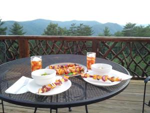 Balcony dining at Leatherwood Mountains Resort.