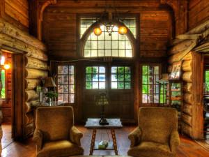 Lodge foyer at Stout's Island Lodge.