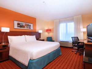 Guest room at Fairfield Inn & Suites Dallas Market Center.