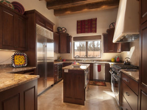 Rental kitchen at Two Casitas, Santa Fe Vacation Rentals.