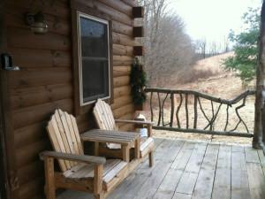 Cabin porch at Big Pine Retreat.