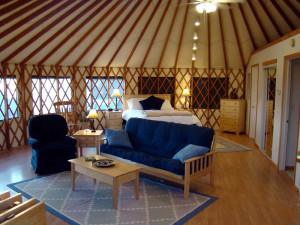 Yurt interior at Stone Wind Retreat.