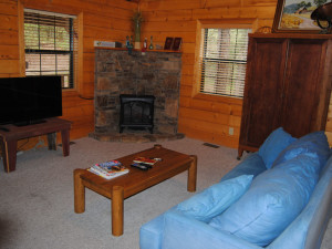 Cabin living room at Cabin Fever Resort.