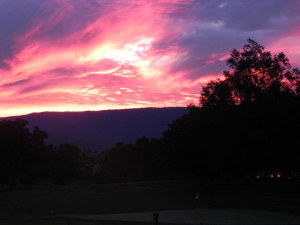 Sunset on the golf course at Shenvalee Golf Resort.