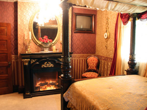 Wine and Gold Room at The 1887 Hansen House Bed & Breakfast.