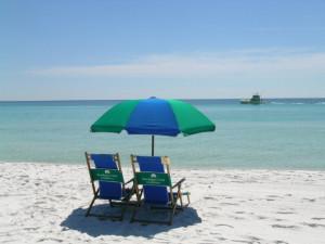 Chair and umbrella rentals at Sandpiper Cove.