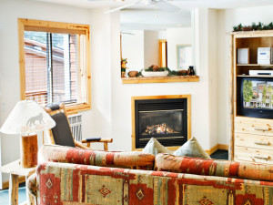 Living Room of a One Bedroom Unit at the Red Wolf Lodge at Squaw Valley