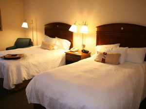 Guest room at Hampton Inn Springfield-South.
