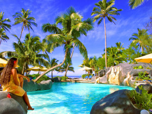 Outdoor pool at Rarotongan Beach Resort.