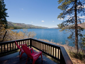 Deck view at Elk Point Lodge.