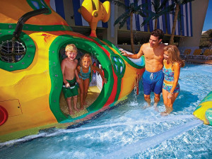 Family at water park at Compass Cove Resort.
