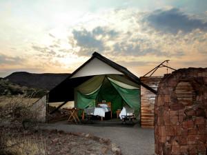 Tents at Etendeka Mountain Camp.