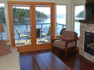 Villa living room at Mayne Island Resort and Spa.