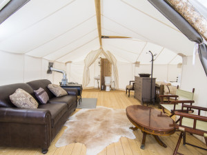 Tent interior at Grand Canyon Under Canvas.