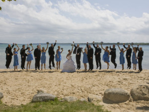 Wedding on the beach at A-Ga-Ming Golf Resort.