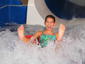 Kid going down water slide at Bavarian Inn of Frankenmuth.