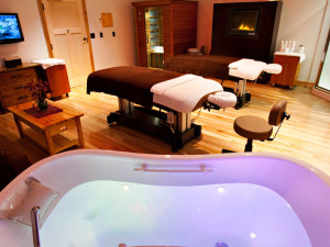 The spa at Hope Lake Lodge & Indoor Waterpark.