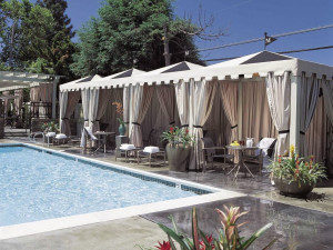 Outdoor pool and cabanas at The Moorpark Hotel.