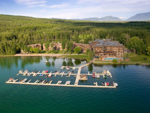 Aerial view of The Lodge at Whitefish Lake.