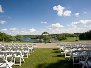 Wedding ceremony at Holiday Inn Club Vacations at Lake Geneva Resort.