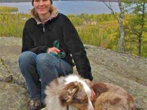Lady And Dog at Gunflint Lodge