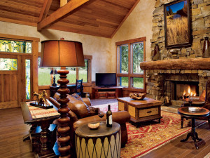 Cabin living room at The Resort at Paws Up.