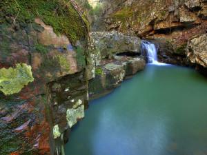 Hidden falls at Rainey Day Resort.