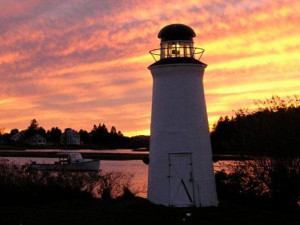 Lighthouse at sunset at The Nonantum Resort.