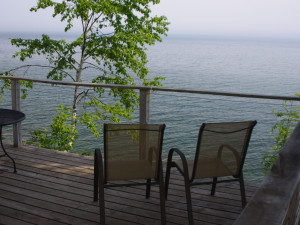 Awesome view from one of our cabin decks at Solbakken Resort!