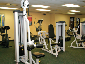 Fitness room at Tanglewood Resort and Conference Center.