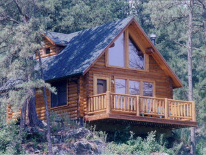 Cabin exterior at Newton Fork Ranch.