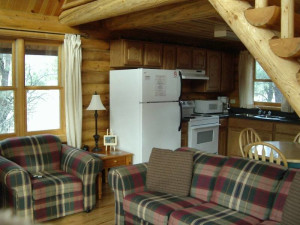 Cabin living room at Newton Fork Ranch.