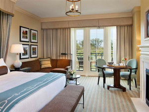 Guest room with fireplace at Salamander Resort & Spa.