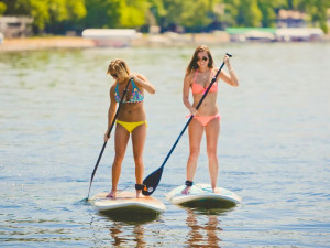 Paddle boarding at Grand View Lodge.