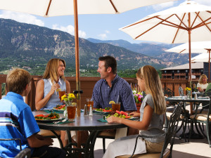 Al-fresco dining on the Mountain View Restaurant terrace at Cheyenne Mountain Resort.
