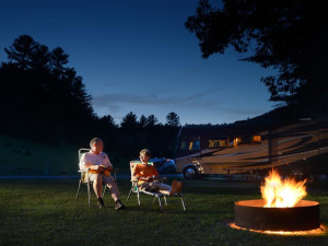 Relaxing by the campfire at Lake George RV Park.